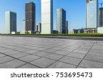empty brick floor with... | Shutterstock . vector #753695473