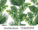tropical palm leaves  jungle... | Shutterstock .eps vector #753695959