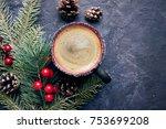 cup of coffee cappucino  spruce ...   Shutterstock . vector #753699208