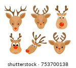 set of christmas deer. head of... | Shutterstock . vector #753700138