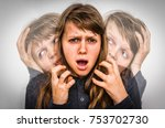 woman with split personality... | Shutterstock . vector #753702730