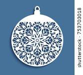 ornamental christmas ball ... | Shutterstock .eps vector #753703018