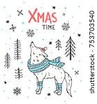 handdrawn handwritten winter... | Shutterstock .eps vector #753703540