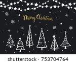 black white gold merry... | Shutterstock .eps vector #753704764