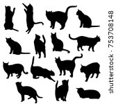 Stock vector set vector silhouettes of the cat different poses standing jumping and sitting black color 753708148