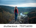 girl on the top of the hill... | Shutterstock . vector #753716050