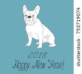 happy new year 2018 greeting... | Shutterstock .eps vector #753719074