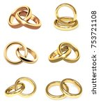 collection of gold wedding... | Shutterstock . vector #753721108