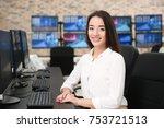 female stock trader working in... | Shutterstock . vector #753721513