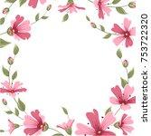 gypsophila babys breath pink... | Shutterstock .eps vector #753722320