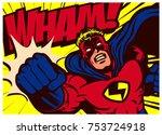 Pop art comic book style superhero punching vector poster design wall decoration illustration | Shutterstock vector #753724918
