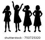 vector silhouettes of girls...   Shutterstock .eps vector #753725320