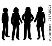 vector silhouettes of girls... | Shutterstock .eps vector #753725326