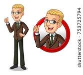 set of blonde businessman in... | Shutterstock .eps vector #753725794