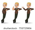 set of blonde businessman in... | Shutterstock .eps vector #753725806