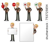 set of blonde businessman in... | Shutterstock .eps vector #753725854