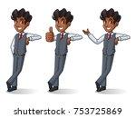 set of businessman in vest... | Shutterstock .eps vector #753725869