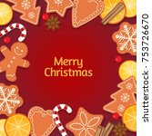 christmas background with... | Shutterstock . vector #753726670