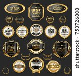 golden sale frame badge and... | Shutterstock .eps vector #753726808