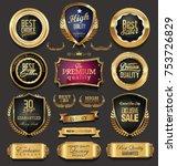 golden sale frame badge and... | Shutterstock .eps vector #753726829