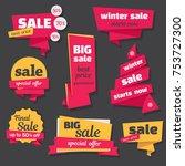 set of  sale banners in origami ... | Shutterstock . vector #753727300