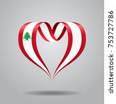 lebanese flag heart shaped wavy ... | Shutterstock .eps vector #753727786