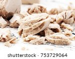 dry yeast crumbled and yeast... | Shutterstock . vector #753729064