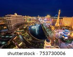 las vegas strip skyline at... | Shutterstock . vector #753730006