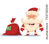 smile santa claus with a red... | Shutterstock .eps vector #753730240