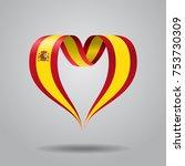 spanish flag heart shaped wavy... | Shutterstock .eps vector #753730309