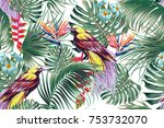 tropical seamless vector floral ... | Shutterstock .eps vector #753732070