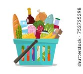 grocery in a shopping basket.... | Shutterstock .eps vector #753735298