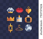 pixel art icon set. women's... | Shutterstock .eps vector #753737626