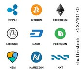 crypto currency icon set flat... | Shutterstock .eps vector #753740170
