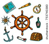 marine set. shipboard equipment ... | Shutterstock . vector #753740380