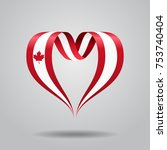 canadian flag heart shaped wavy ... | Shutterstock .eps vector #753740404