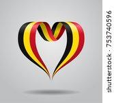 belgian flag heart shaped wavy... | Shutterstock .eps vector #753740596