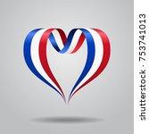 french flag heart shaped wavy... | Shutterstock .eps vector #753741013