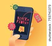 black friday sale banner. hand... | Shutterstock .eps vector #753741373