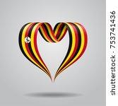ugandan flag heart shaped wavy... | Shutterstock .eps vector #753741436