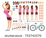 young fitness female ... | Shutterstock .eps vector #753742570