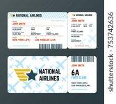 airplane flight boarding pass... | Shutterstock .eps vector #753742636