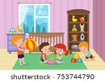 children playing with toys in... | Shutterstock .eps vector #753744790