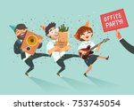 cheers  businessmen crowd going ... | Shutterstock .eps vector #753745054