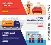 petrol station horizontal... | Shutterstock . vector #753747433
