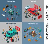 auto service center 4 isometric ... | Shutterstock . vector #753750784