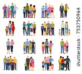 young couples and families with ... | Shutterstock . vector #753750964