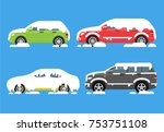 Cars Covered With Snow Set