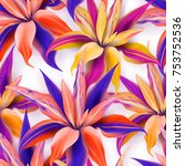 cordyline fruticosa  pattern of ... | Shutterstock .eps vector #753752536