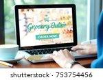 woman hands typing laptop... | Shutterstock . vector #753754456